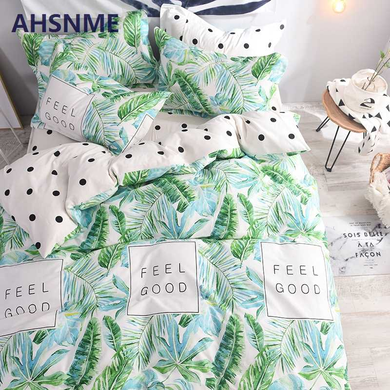 AHSNME 100% Cotton Bedlinen Luxury bedclothes King Double Size Bedcover Banana Leaf/Palm Leaf Duvet Cover Pillowcase Bedding Set
