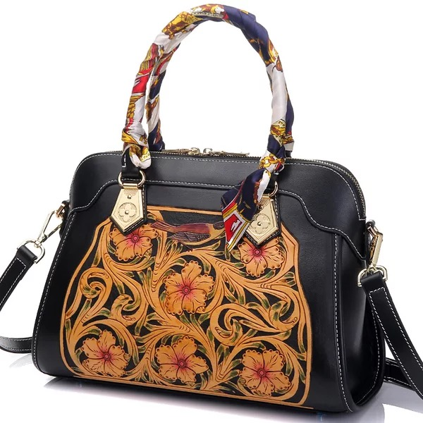 все цены на Genuine Cow Leather Engraved Flower Chinese Style Ladies Black Top handle Handbag Carved Women's Three-way Floral Shoulder Bag