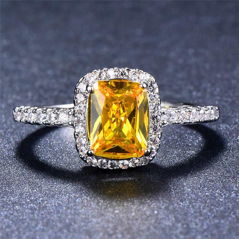 Luxe Vrouwelijke Meisje Grote Crystal CZ Stone Ring 925 Sterling Zilver Wit Blauw Paars Groen Trouwringen Promise Engagement Ring