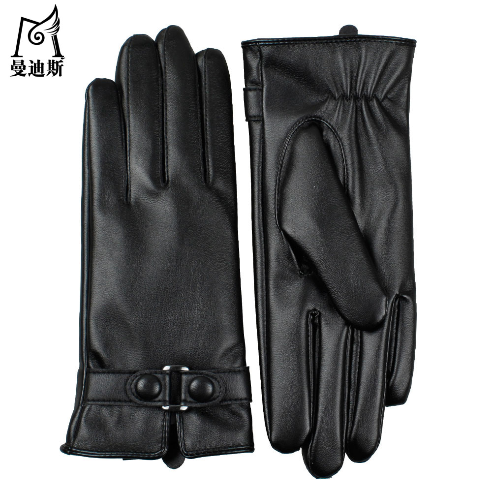 Leather driving gloves bmw - 2016 Women Fashion Warm Touch Screen Sexy Dancing Driving Faux Fake Washable Leather Pu Autumn Winter New Belt Gloves Mittens