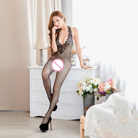 Ladies Open Crotch Nets Design Lingerie Sexy Fishnet Stockings Exposed Sex Temptation Lingerie Perspective One piece Erotic Suit