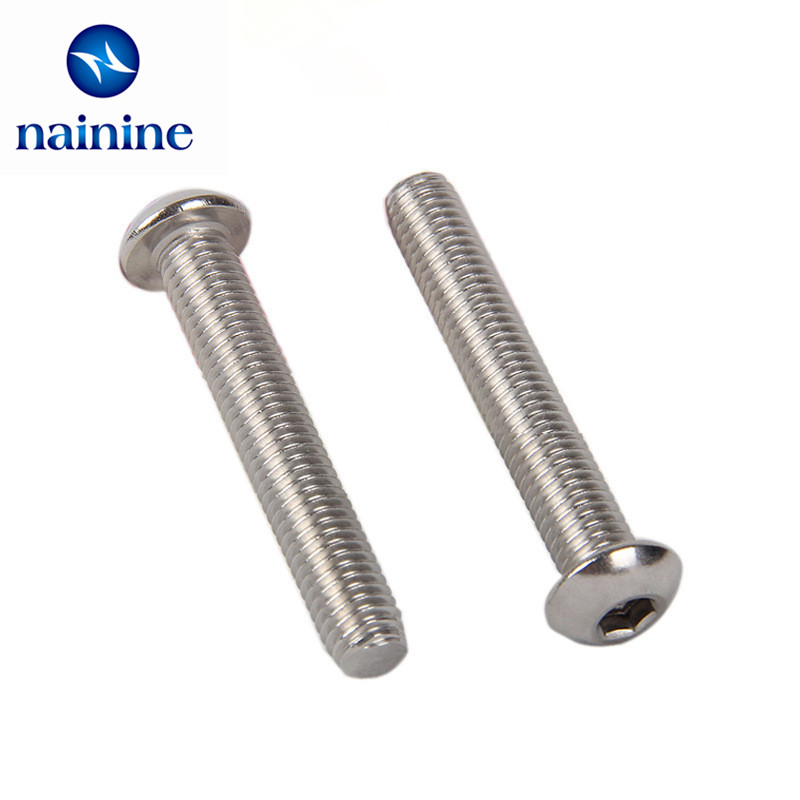 50Pcs M2 ISO7380 GB70.2 304 Stainless Steel A2 Round Head Screws Mushroom Hexagon Socket Button Head Screw HW016 10pcs din7380 button head socket cap screw 304 stainless steel round pan head screws m5 30mm