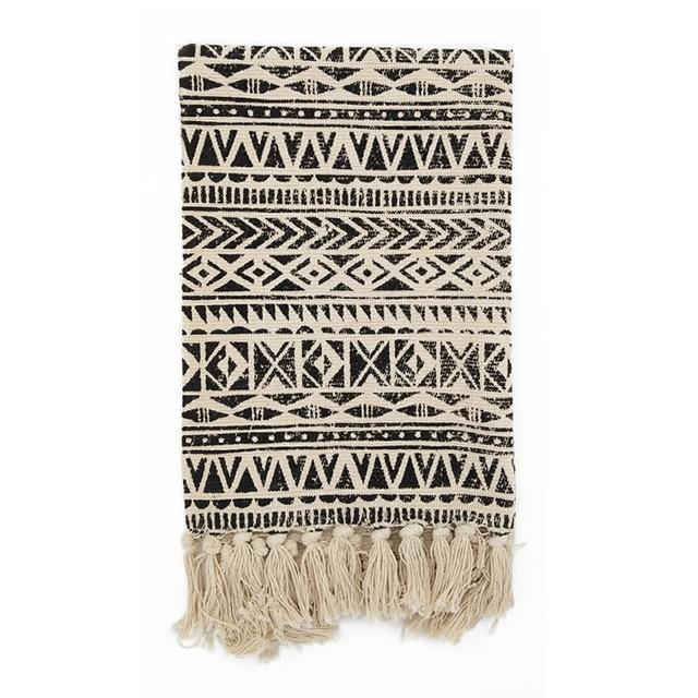 € 32.6 10% de réduction|Kilim noir blanc 100% coton salon tapis géométrique  indien tapis rayé moderne tapis contemporain arabe design style ...