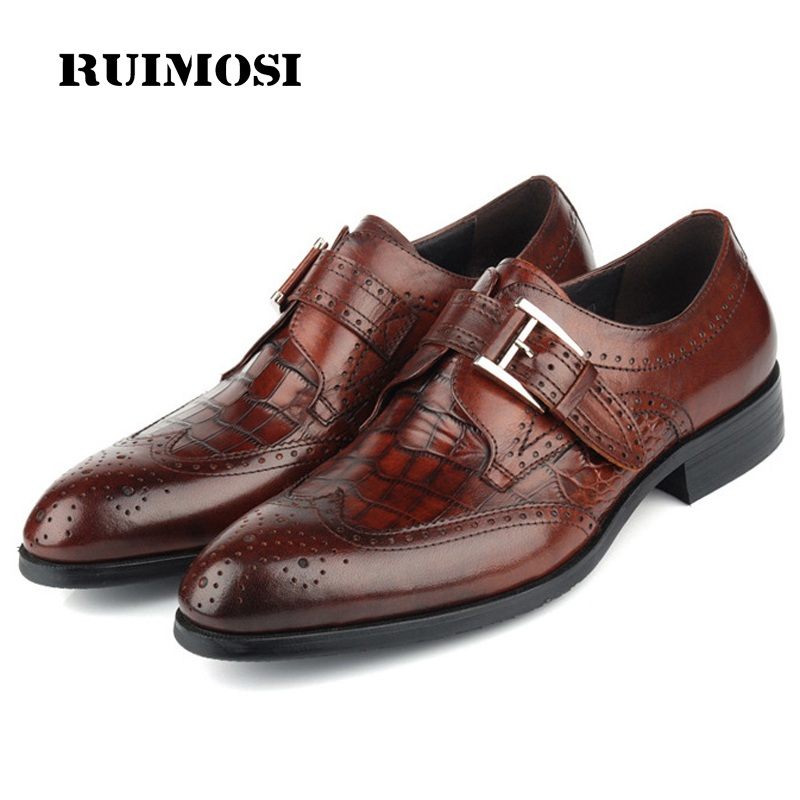 RUIMOSI Wing Tip Brogue Formal Man Dress Shoes Genuine Leather Crocodile Oxfords Luxury Brand Men's Footwear For Male EH92