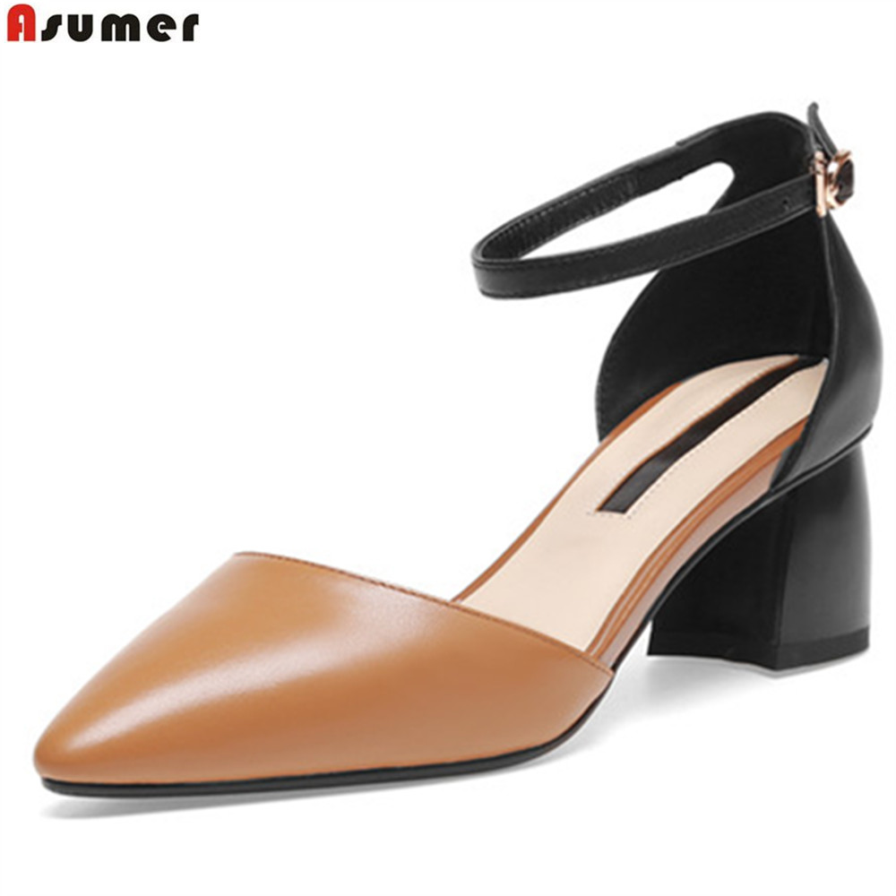 ASUMER 2018 spring autumn new 2018 women pumps pointed toe natural genuine Leather heels shoes casual buckle high heels shoes siketu 2017 free shipping spring and autumn women shoes fashion sex high heels shoes red wedding shoes pumps g107