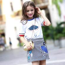 Teens Girls Summer Clothing Set Girls Short Sleeve Suit Kids 2pcs 2019 New Casual Sport Suit Tshirts Tops Tees Striped Skirts