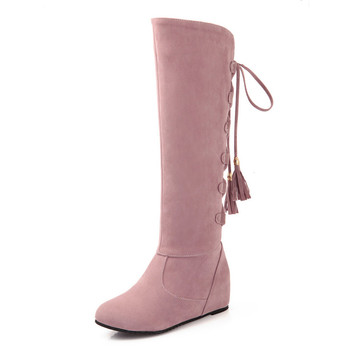 Big Size 34-43  Knee Boots for Women Sexy Long boots Winter Autumn Shoes Round Toe Platform Knight 66-28 - discount item  28% OFF Women's Shoes