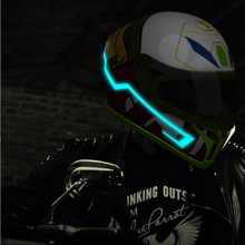 Rechargeable Motorcycle Helmet EL Cold Light Strip LED Night Signal Luminous Modified Sticker