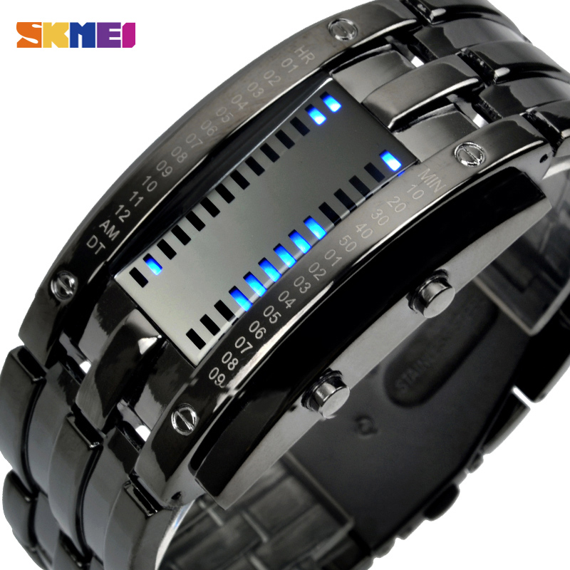 Digital Watches New Men Watches Fashion Binary Led Digital Watch Men Sports Watches Stainless Steel Mesh Band Electronic Watches Reloj Hombre