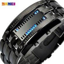 SKMEI mode montre de Sport créative hommes en acier inoxydable bracelet LED montres 5Bar étanche montre numérique reloj hombre 0926