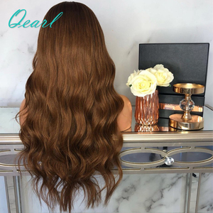 Image 5 - Brown Body Wave Human Hair Full Lace Wigs 180% Brazilian Remy Hair Pre Plucked Middle Part Wavy Wig With Baby Hair Qearl