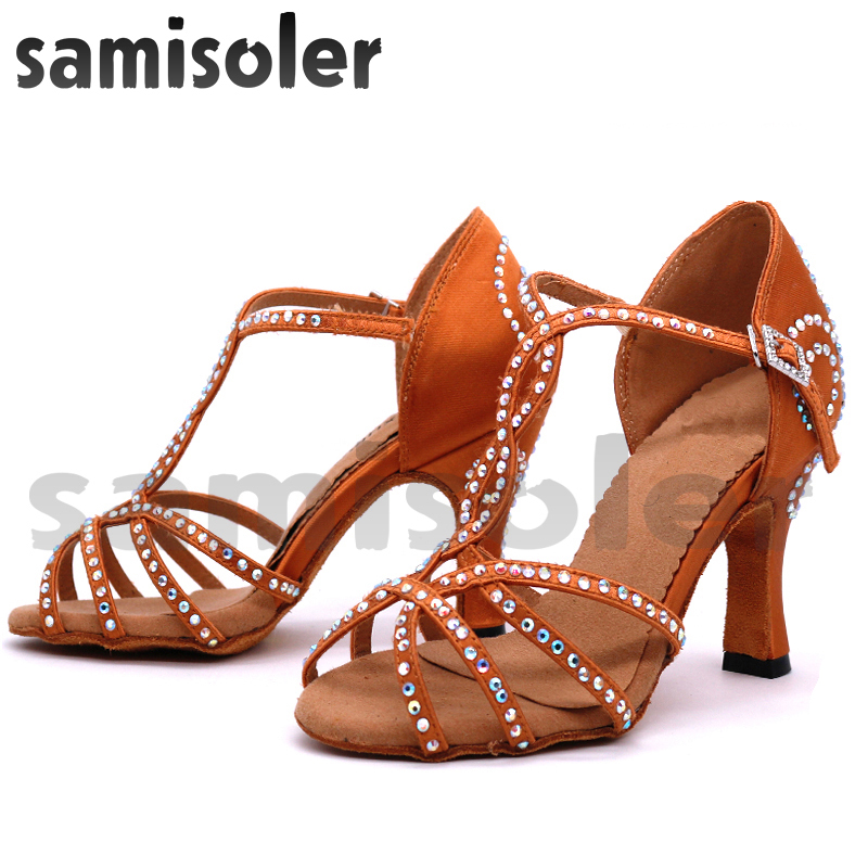 Samisoler Brown New Cloth Collocation Shine Ribbons Ballroom Fashion Rhinestone Dance Women Latin Dance Competition Shoes in Dance shoes from Sports Entertainment
