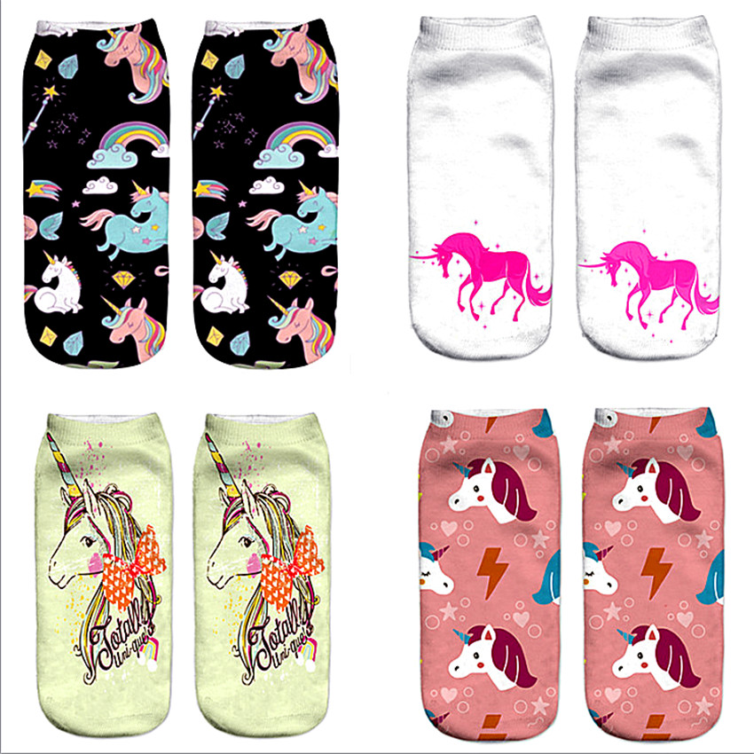 3D Print Unicorn Socks Girls Kawaii Ankle Licorne Chaussette Femme Calcetines Mujer Cute Emoji Art Happy Kids Long Cotton Socks цена