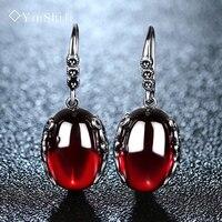 YinShiJi Rétro Argent Boucles D'oreilles pour les Femmes Vintage Rouge Jaune Pierres Précieuses avec 925 Sterling Argent indien Bijoux pendientes