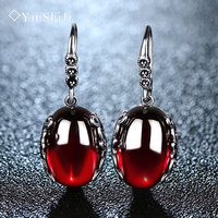 Vintage Thai Silver Yellow Chalcedony Agate Gem Earrings Accessories Garnet Drop Earring Fashion Female Elegant 925