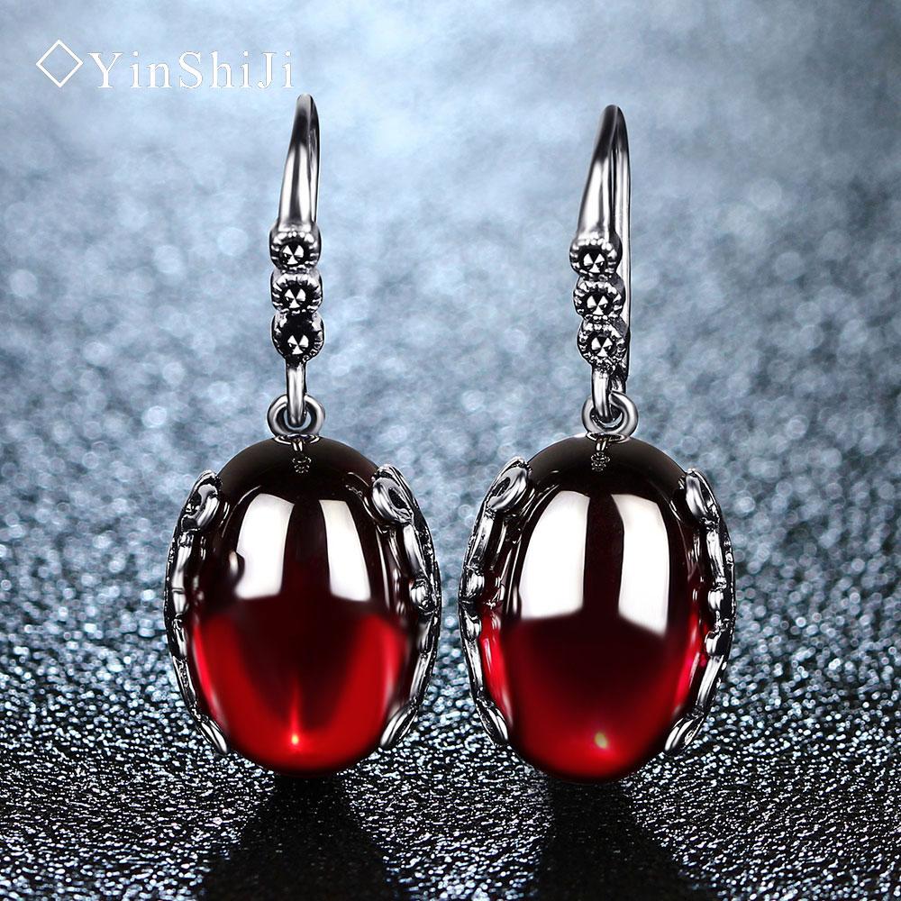 Yinshiji Ретро Серебряные серьги для Для женщин Винтаж красный желтый драгоценные Камни с стерлингового серебра 925 индийский ювелирные Pendientes