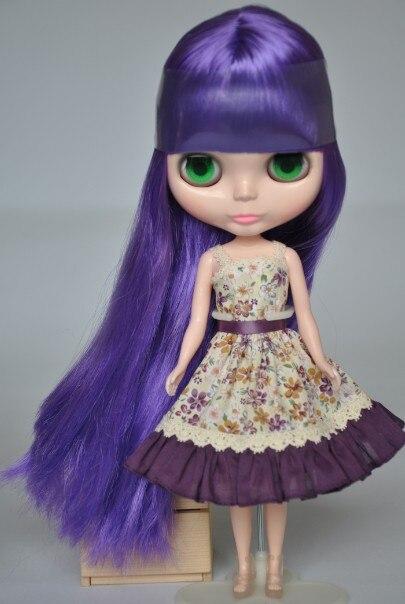 Free shipping Nude Blyth Doll, purple3 hair, big eye doll,For Girl's Gift,PJZ0011 free shipping nude blyth doll black5 hair big eye doll for girl s gift pjb005