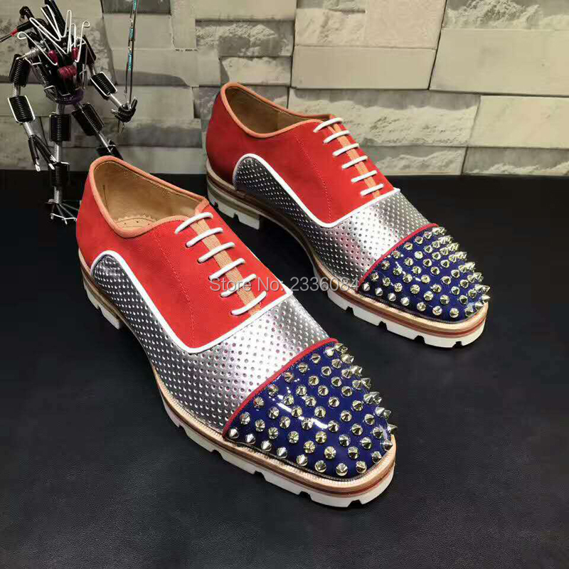 LTTL Men Red Lace-up Patchwork Dress Shoes Spikes Studded Lowtop Mixed Color Loafers Anti-skid Shoes Men Party Shoes Size 38-47