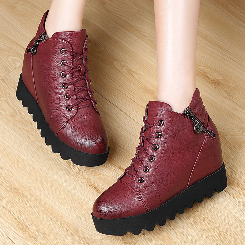 Round toe font b women s b font elevator shoes thermal side zipper high cotton shoes