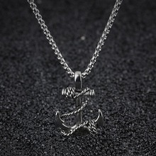 Titanium Steel Pendants Chain Anchor Necklace Cross for Men