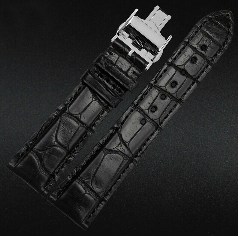 18mm 19mm 20mm 21m 22mm New Men`s Alligator Genuine Leather Watch Band Strap Bracelets Silver Dpolyment Clasp Buckle new mens genuine leather watch strap bands bracelets black alligator leather 18mm 19mm 20mm 21mm 22mm 24mm without buckle