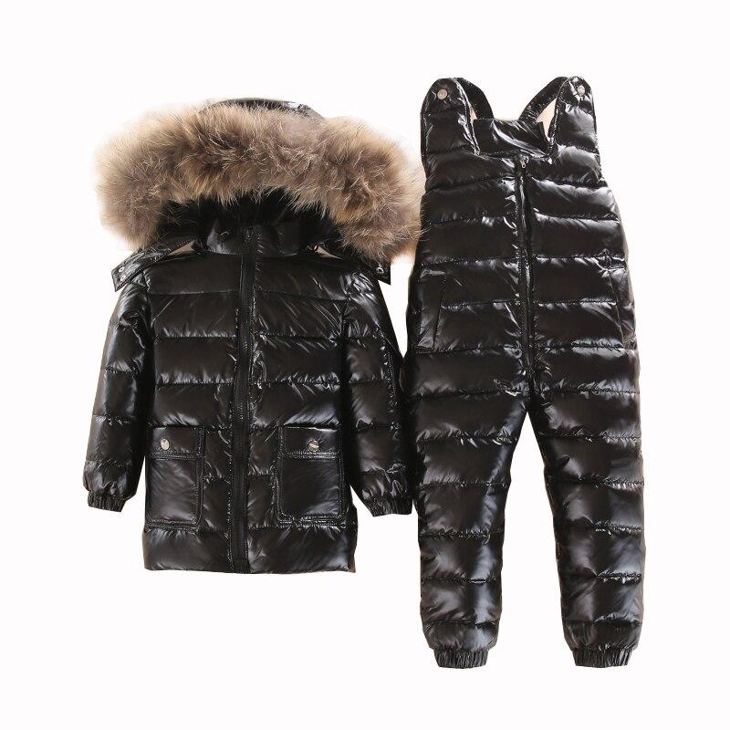 Русская зима теплый комплект одежды для детей белый пуховик для мальчиков зимняя одежда для детей водонепроницаемый лыжный костюм куртки д...