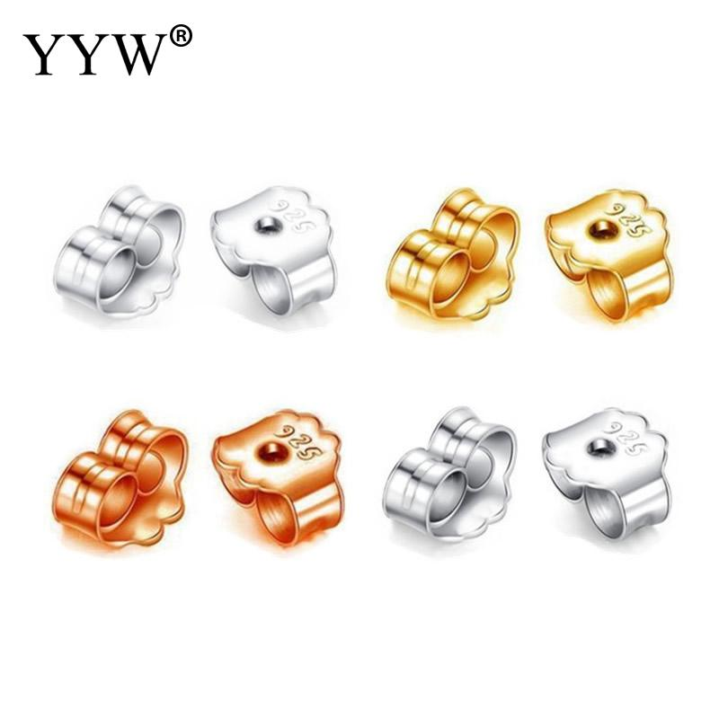 Solid 925 Sterling Silver Ear Nut Component Earring Stoppers Post Stud Earrings Backs Women Jewelry for DIY Earring Making
