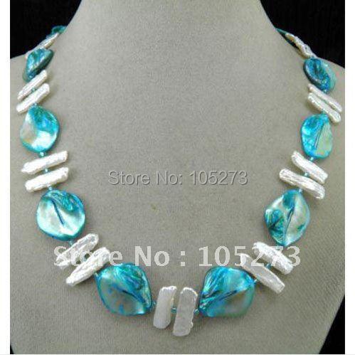 Потрясающе! Жемчуг+ ожерелье с раковинами AA 5X12 мм белый пресноводный жемчуг+ синяя ракушка 18''inchs белый магнит застежка NF189
