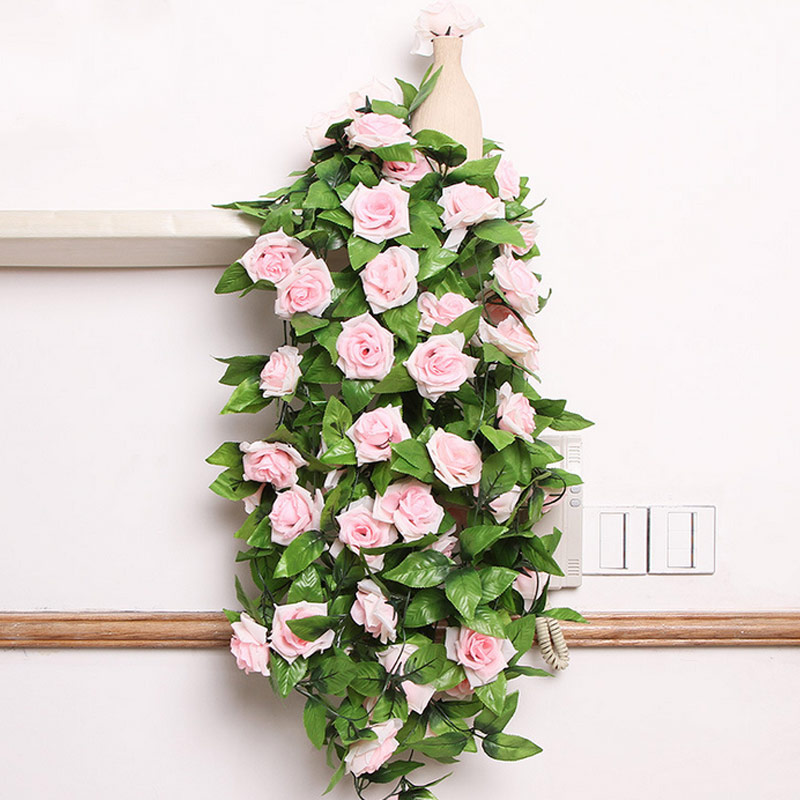 Artificial Flowers Bouquet Small Bud Silk Roses Vine Green Leaves Homemade Decor