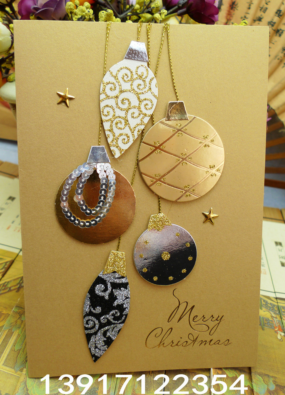 2014 Handmade Christmas Card Chinese Style Greeting Card Quality