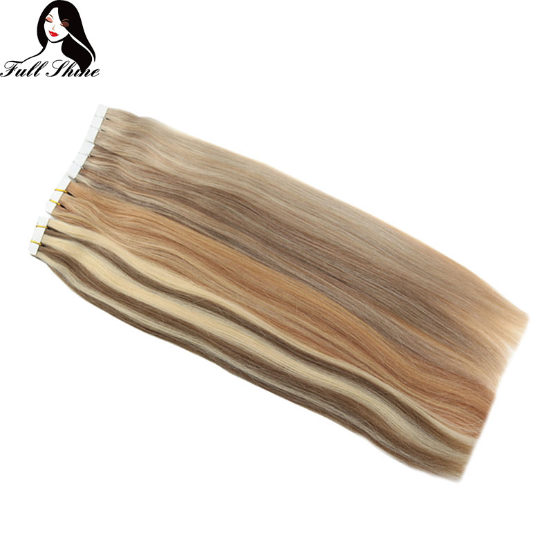 Full Shine Tape In Extensions Human Hair 100% Real Machine Remy Hair Adhesive Tape In Hair Extension Seamless Tape In Hair