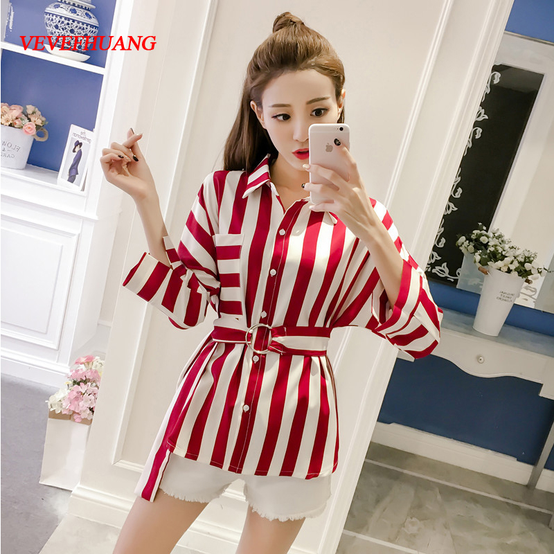 Summer Fashion Women Red-white Striped Blouse for Office Ladies Ring-sash Loose Tops Feminino Shirts Plus Size 3X 4X 5XL