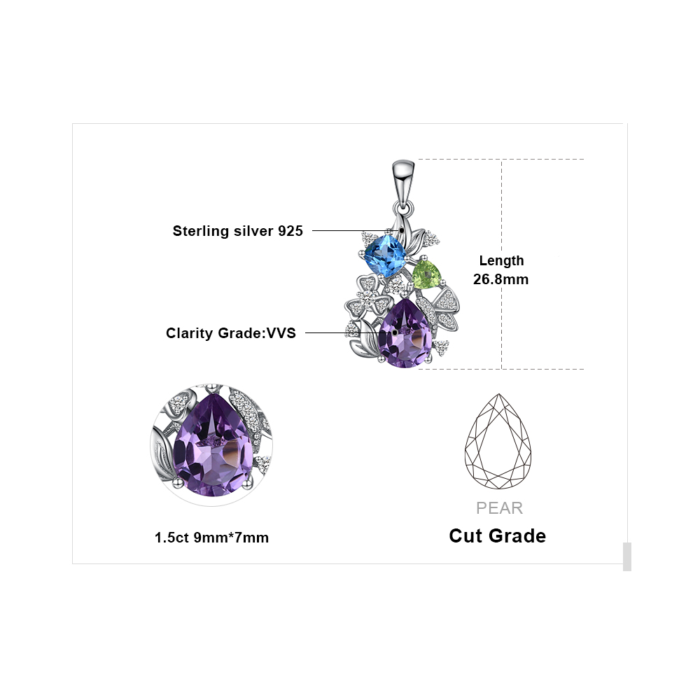 Image 5 - Flower Natural Amethyst Peridot Topaz Pendant Necklace 925  Sterling Silver Gemstones Statement Necklace Women Without  ChainNecklaces