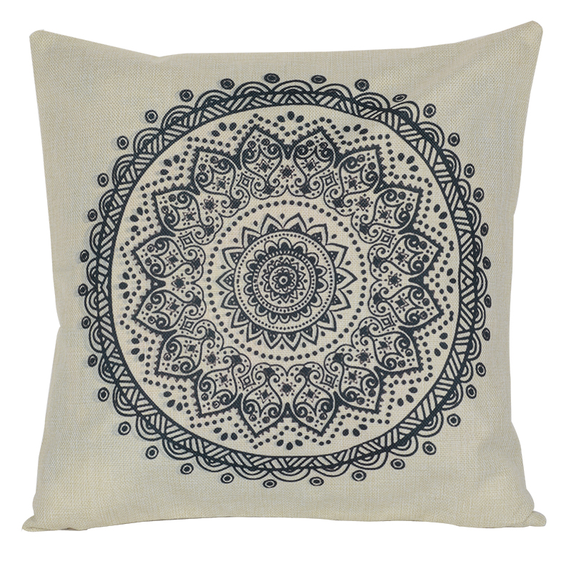 Black White Vintage Flower Pillow Covers Geometric Pillow Case