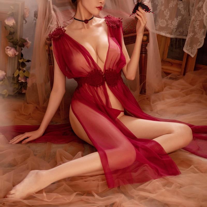 3 Sizes High Quality Sexy Lingerie Net Gauze Lace Embroidery Sheer Long Night Dress   Nightgowns     Sleepshirts   Women Nightwear