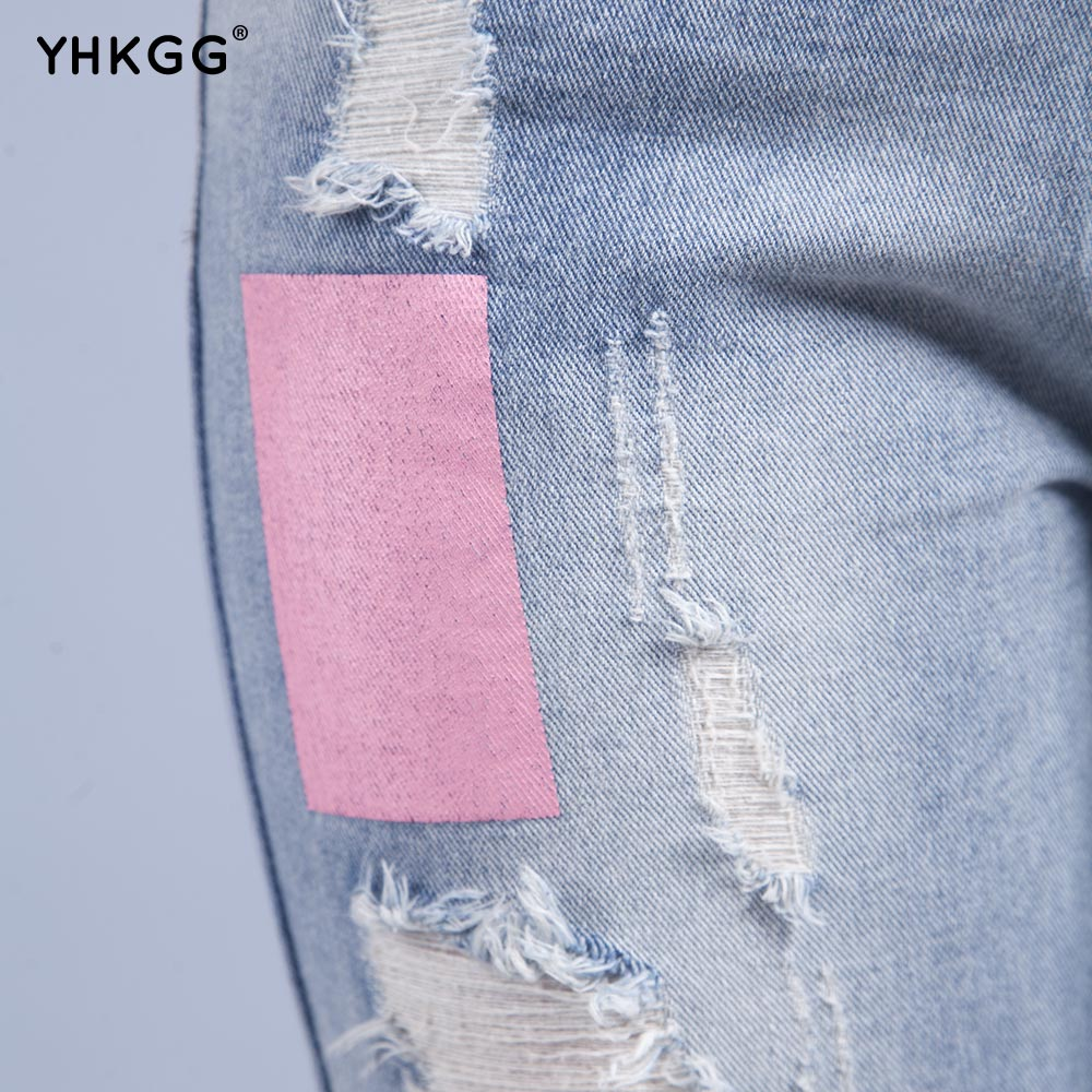 Yhkgg Womens Jeans With Flowers Embroidery Alphabet Ripped Jeans For
