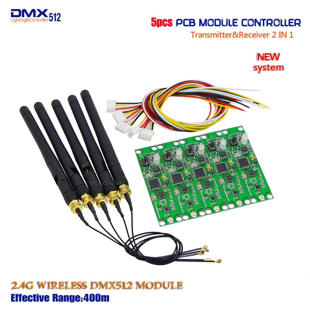 Promoção!!! Lojas de fábrica 5 pçs/lote 2 em 1 DMX 512 Controlador Transmissor Sem Fio & Receptor Módulo PCB Para Iluminação de Palco DMX