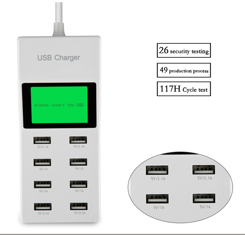 US EU UK Multi 8 Usb Ports Multi Charger with Lcd Screen Smart Wall Charger for Yotaphone 2 Doogee X5 S6 18650 Cell Phone