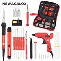 NEWACALOX UE 220 V 60 W DIY temperatura ajustable de la soldadura eléctrica de soldadura de hierro Kit destornillador pistola de pegamento reparación cuchillo