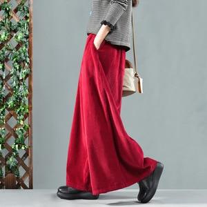 Image 2 - Autumn Winter Pants Retro Loose Women Trousers Elastic Waist pocket Solid color Corduroy Blended Female Casual Pants 2018