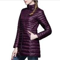 Woman Coat 90 White Duck Down Long Jacket Female Overcoat Ultra Light Slim Solid Jackets Winter