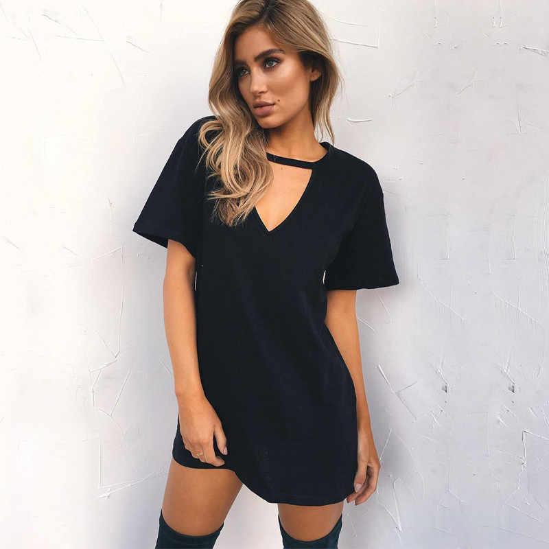 Vrouwen Zomer T-shirt 2020 Casual Losse Korte Mouwen T-shirts Sexy V-hals Katoenen T-shirt Femme Pure Dames Lange Tops Plus size