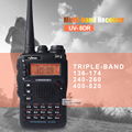 UV-8DR Três Tri Band 136-174/240-260/400-520 mhz Walkie Talkie ham radio 128 canal Multi-Band Two-Way Radio