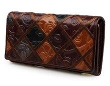 2017 hohe Qualität Brieftasche Vintage Luxus Frist Schicht Aus Echtem Leder Frauenmappen Langen Design Leder Frauen Geldbörsen