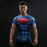 New 2016 Cody Lundin Men Printed Blazer Compression T Shirts Marvel Avengers Costume DC Comics Superhero