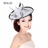 QPALCR Summer Fascinators Hats Women White Black Line Pillbox Hat Girls Lady Wedding Fedoras Kentucky Derby Cocktail Party Hat