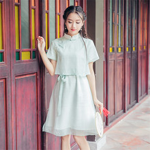 81d228e92 NORIVIIQ Maiden Cheongsam Chinese Dress Embroidery Qipao 2018 New Retro  Standing Collar Short Sleeve Fake Two Pieces Tang Suit