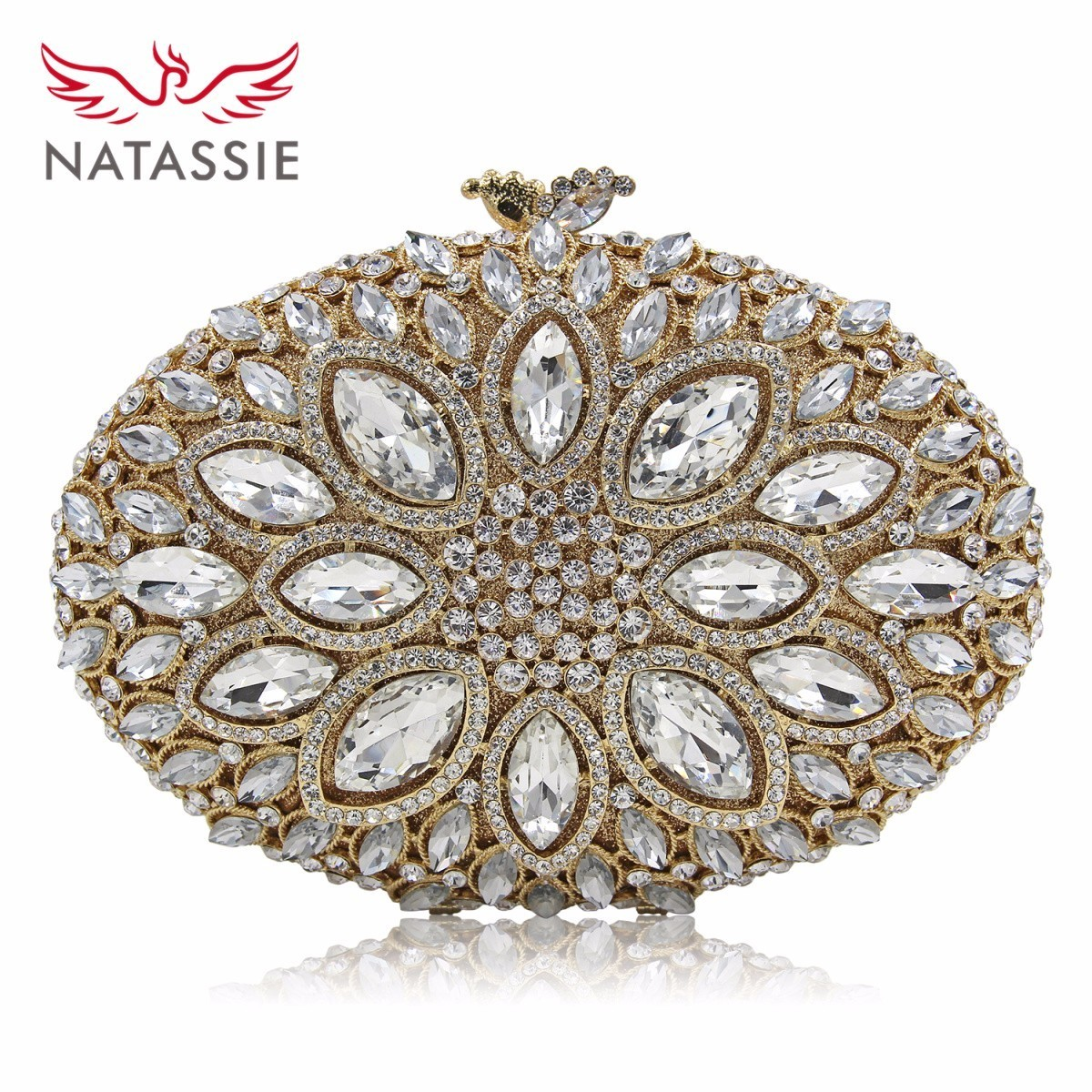 NATASSIE Women Crystal Stones Evening Bags Ladies Luxury Oval Shape Party Bag Female Wedding Clutches Purses White Gold free shipping a15 36 sky blue color fashion top crystal stones ring clutches bags for ladies nice party bag