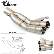 36-51MM Universal Motorcycle Double Exhaust Muffler Pipe escape moto For YAMAHA MT09 Kawasaki Z 800 Suzuki GSX R 1000 SV 650 S стоимость