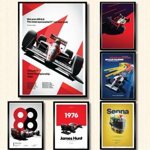 Mclaren World Champion Ayrton Senna F1 Formula Racing Car Poster Wall Art Canvas Painting Posters and Prints for Room Home Decor(China)